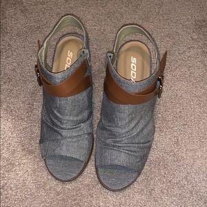Soda peep toe ankle strap booties 6.5